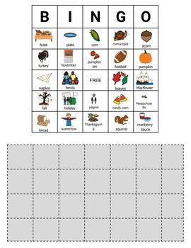 Thanksgiving Bingo- 30 Printable and Digital Cards- Boardmaker Symbols