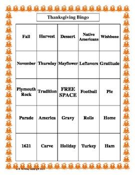 Thanksgiving Bingo (30 pre-made cards!)