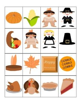 Thanksgiving Bingo - Cut & Paste