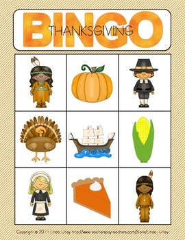 Thanksgiving Bingo Activity for Preschool and Kindergarten