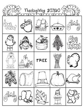 Thanksgiving Bingo Activity for the Holidays