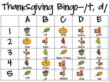Thanksgiving Bingo-Articulation
