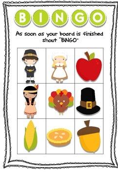 Thanksgiving Bingo Board Game