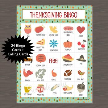 Thanksgiving Bingo - Class Set (24 Different Cards Included)