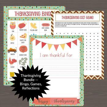Thanksgiving Bingo (Class Set of 24) and 6 Games/Activities