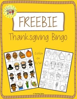 Thanksgiving Bingo FREEBIE