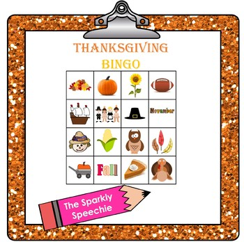 Thanksgiving Bingo - Following Directions and Naming Described Objects
