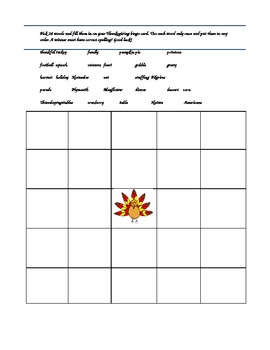 Thanksgiving Bingo Game Card
