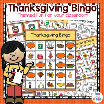 Thanksgiving Bingo Game For Classrooms By Fun With Mama Tpt