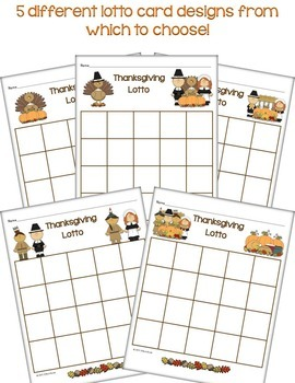 Thanksgiving Lotto (Numbers, Counting, Subitizing, Tally Marks, Skip Counting)