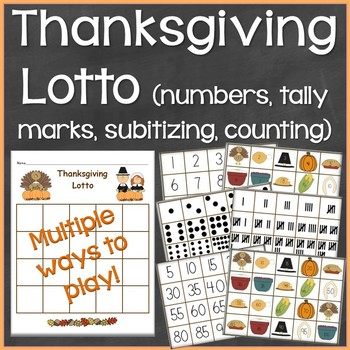 Thanksgiving Lotto (Numbers, Counting, Subitizing, Tally M