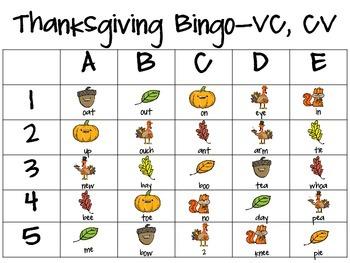 Thanksgiving Bingo-Praxis Basic Level