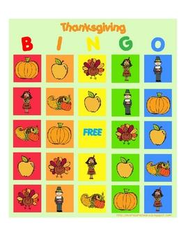 Thanksgiving Bingo Set (4 game cards & spinner)