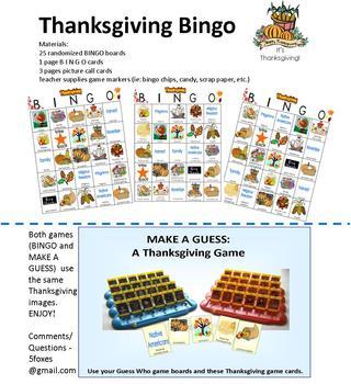 Thanksgiving - Bingo and Make a Guess