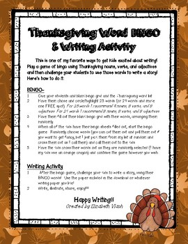 Thanksgiving Bingo and Writing Activity