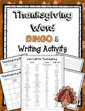 Thanksgiving Bingo and Writing Activity