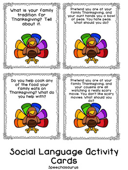 Thanksgiving Bingo for Speech and Language