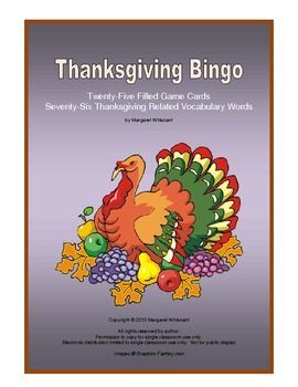 Thanksgiving Bingo with Twenty-five Filled Playing Cards