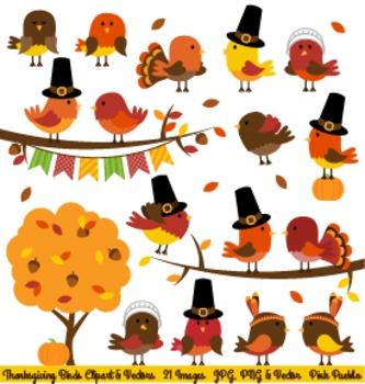 Thanksgiving Bird Clip Art Clipart, Thanksgiving Birds - Commercial and Personal