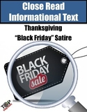 Thanksgiving Activities Black Friday Non-Fiction Satire Close Reading