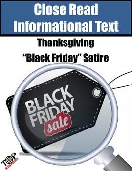 Thanksgiving Activities Black Friday Non-Fiction Satire Close Reading