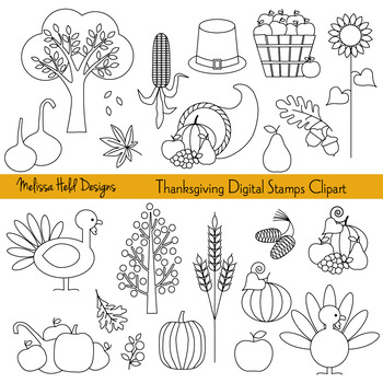 Thanksgiving Black and White Clip Art