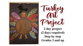 Thanksgiving Black paper chalk art project no prep holiday turkey kids 3 4 5 6