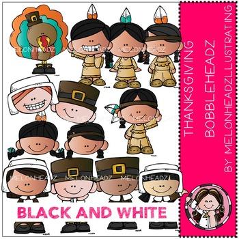 Thanksgiving Bobbleheadz by Melonheadz BLACK AND WHITE