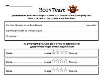 """Thanksgiving """"Book Feast"""" Class Activity: Simple and Fun!"""
