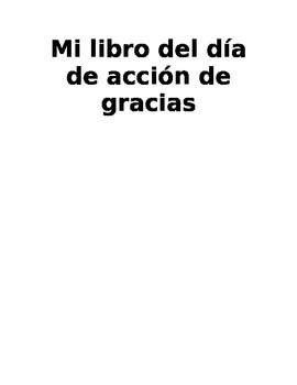 Thanksgiving Book - Spanish