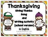 Thanksgiving Song and Writing Activity in English: school version