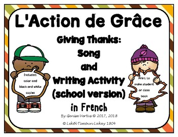 Thanksgiving Book Template in French: I say thank you for...