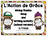 Thanksgiving Song and Writing Activity in French: school version
