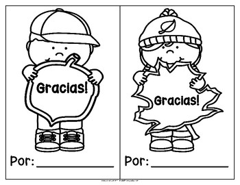 Thanksgiving Book Template in Spanish: I say thank you for...