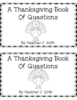 Thanksgiving Book of Questions Emergent Reader