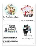 Thanksgiving Mini Book Reader, Vocabulary Cards, Spinner &