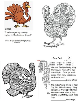 """Thanksgiving Booklet (5""""x4"""") 3rd - 5th"""