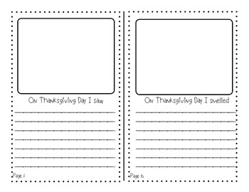 Thanksgiving Booklet Using The 5 Senses