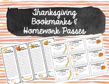 Thanksgiving Bookmarks & Homework Passes