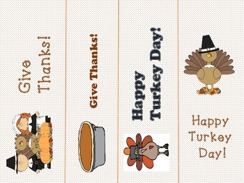 Thanksgiving Bookmarks and I am thankful Sentence Strips