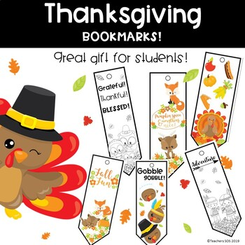 Thanksgiving Bookmarks- Printable Gift For Students