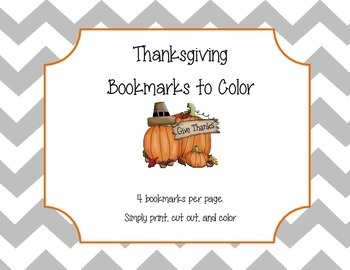 Thanksgiving Bookmarks to Color
