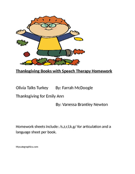 Thanksgiving Books with Speech Therapy Homework