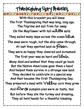 Thanksgiving Bracelet Poem