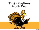 Thanksgiving Break Activity Menu