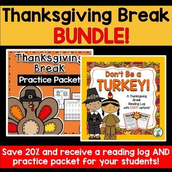 Thanksgiving Break BUNDLE (Reading Log & Practice Packet)