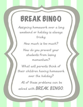 Thanksgiving Break Bingo