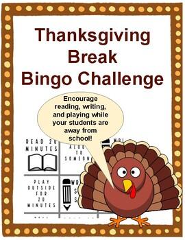 Thanksgiving Break Bingo Activity
