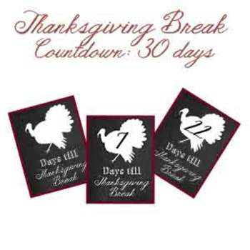 Thanksgiving Break Countdown Flyer ON SALE NOW