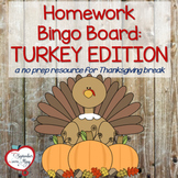 Thanksgiving, November Homework Bingo Board: Turkey Edition